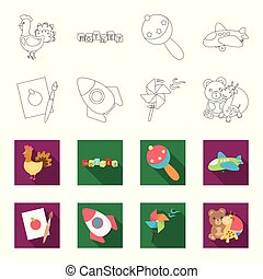 Children toy outline,flat icons in set collection for...