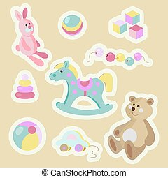 Children toys cartoon pastel sticker set.