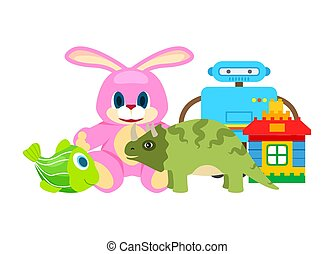 Children Toys Collection, Vector Illustration