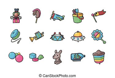 Children toys icons set, eps10