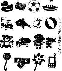 Children toys icons set