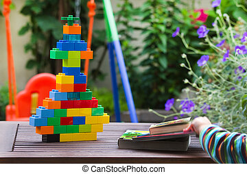Children toys in garden