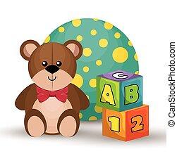children toys set icons