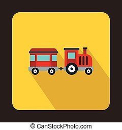 Children train icon, flat style