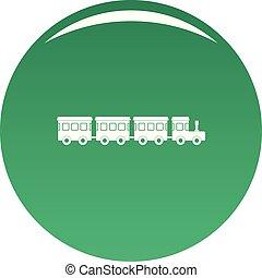 Children train icon vector green