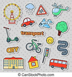 Children Transport Doodle with Bicycle, Bus and Airplane. Childhood Stickers, Badges and Patches. Vector illustration
