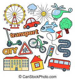 Children Transport Doodle with Bicycle, Bus and Airplane. Vector illustration