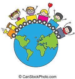 Children traveling by train around the world