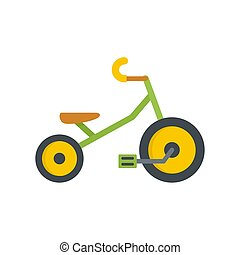 Children tricycle icon, flat style