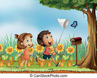 Illustration of children trying to catch a butterfly
