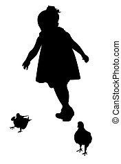 children trying to pick chicken
