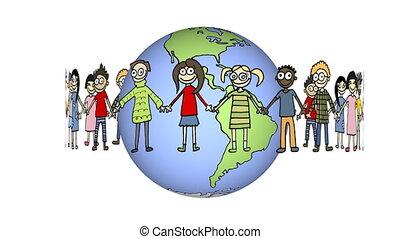 children turning around globe against, white...