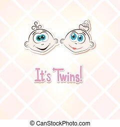 Children twins on a light back