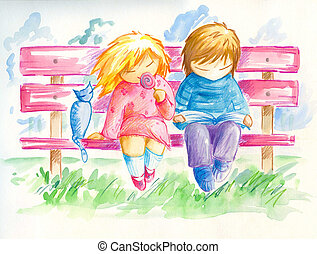 Children - Two children and small cat sitting on the bench. ...