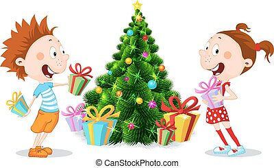 Children under the Christmas Tree Unwrap Gifts isolated on white - vector illustration
