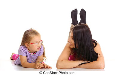 Children upbringing. Mother talking with daughter isolated