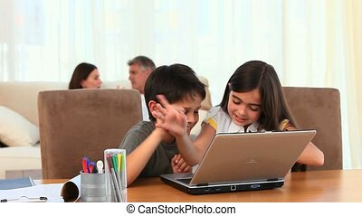 Children using a laptop