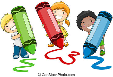 Crayons - Children using Crayons with Clipping Path