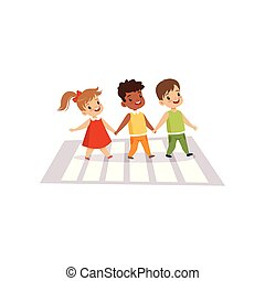 Children Using Cross Walk to Cross Street, Traffic Education, Rules, Safety of Kids in Traffic Vector Illustration
