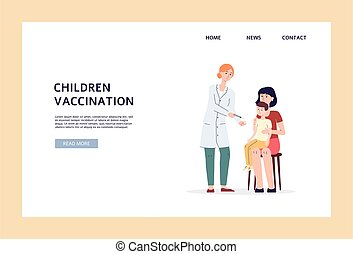 Children vaccination banner template, doctor giving vaccine to boy
