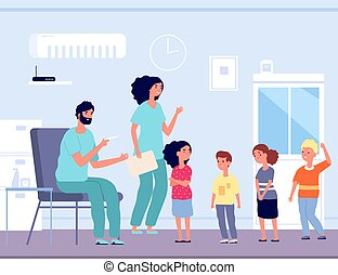 Children vaccination. Hospital visitors, kids crowd to doctor. Man with syringe and emotional child. Nursing, flu prevention vector illustration