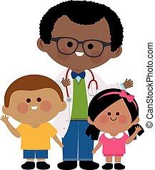 children., vecteur, pédiatre, illustration