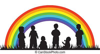 children - vector children silhouettes and rainbow
