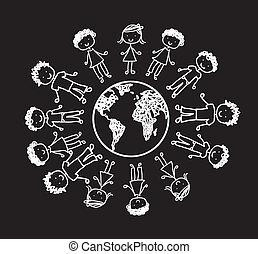 children vector - children over planet, black and white....