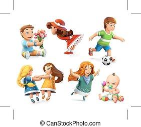 Children vector icons - Children. Little girls and boys. Set...