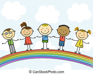 Children. Vector illustration. - Funny kids on a rainbow. ...