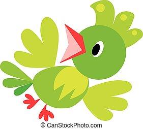 Children vector illustration of funny bird or parrot -...