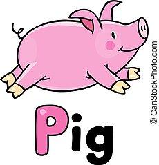 Children vector illustration of little pig . Alphabet P