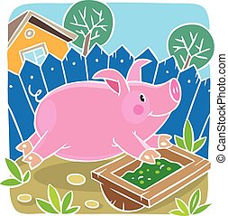 Children vector illustration of little pig