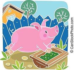 Children vector illustration of little pig