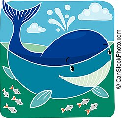 Children vector illustration of little whale.