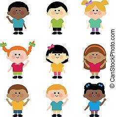 children., verschieden, vektor, gruppe, abbildung