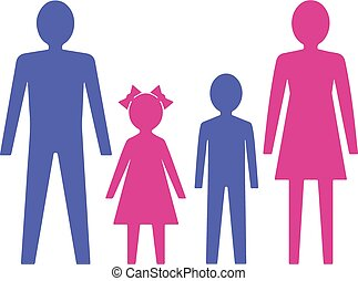 children., vetorial, illustration., família