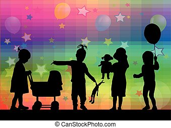 children., vettore, illustrazione