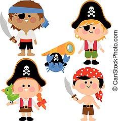 children., vettore, pirata, illustration.