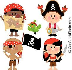 children., vettore, pirata, illustrazione