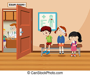 Children wait in front of exam room