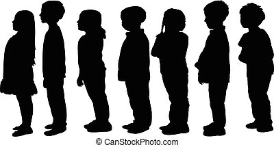 children waiting in line, silhouette