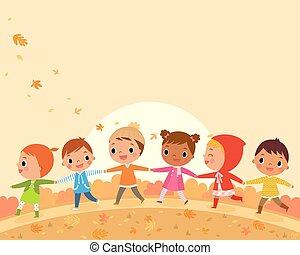 children walk on a beautiful autumn day