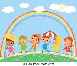 children walk on a beautiful rainy day - illustration of...