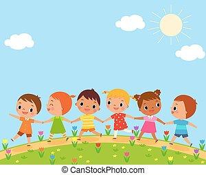 children walk on a beautiful spring day