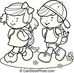 Children walk to school. Black and white coloring book page