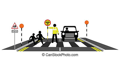 Children walking across a zebra crossing with school patrolman