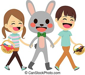 Children Walking Easter Bunny