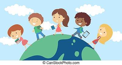 Children walking on planet.