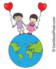 Children walking on the globe